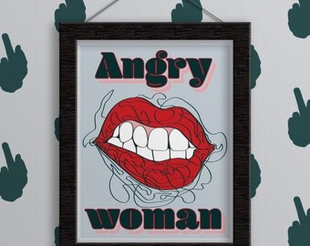 Print - Angry Woman. Women Gift. Wall Art. Feminist Wall Art. Digital Print. Home Decor. Illustration Poster. Feminism. Design. Femme. Print