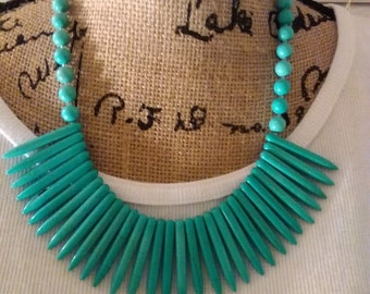 Turquoise Spiked Beaded Necklace
