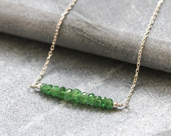 Rare Tsavorite Garnet Necklace, Natural Green Garnet Bar Necklace, Sterling Silver, Handmade UK, January Birthstone, Gift for Her