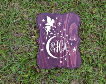 Fairy Monogram 9x12 Personalized Kids Room Sign, Baby's Room, Nursery. Girls Birthday Gift. Hand Painted - Custom Made Options Available!!