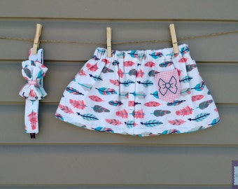 READY-to-go/READYTOGO - skirt and headband - together - daughter printed feathers / Skirt & headband - girl set feathers pattern