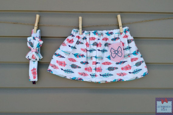 Skirt and headband - all - girl (baby and toddler) printed feathers / Skirt & headband - girl set (baby and toddler) feathers pattern