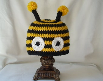 Toddler Bumble Bee Hat, Crochet Animal Hat, Costume Hat, Boy's Animal Hat, Girl Insect Hat, Yellow and Black Striped Hat, Photo Prop