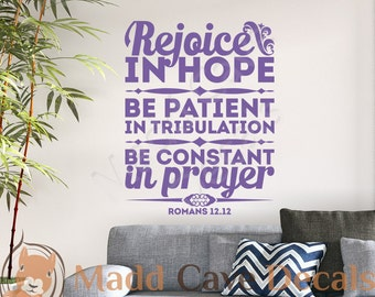 Romans 12:12 Rejoice In Hope Vinyl Wall Decal Quote Scripture