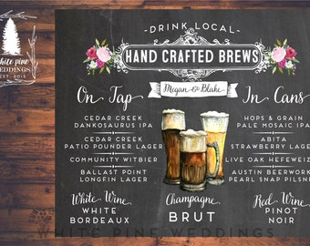 PRINTABLE Wedding Bar Menu, Hand crafted Beer, Custom Bar sign, Bar Menu sign, Wedding Bar sign, Chalkboard, Brew sign, Digital, Pink Floral