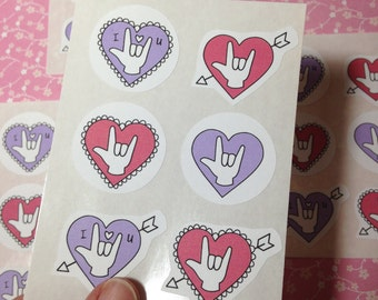 24 ASL ILY Stickers American Sign Language I love You