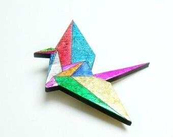 rainbow origami crane // gorgeous sparkly brooch