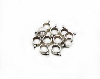 Silver Bails, 15mm Bails Charm, Large Hole Bails, Bails Pendant, 7pcs Bails, Jewelry Making, Craft Supplies, Charm Connectors
