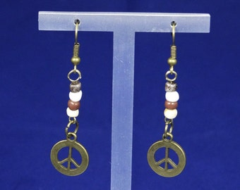 Natural Beads & Peace Earrings