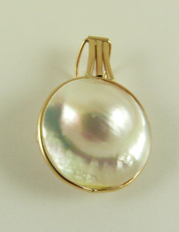 Mabe White Blister 20 mm x 19.3 mm Pearl Pendant With 14K Yellow Gold Enhancer