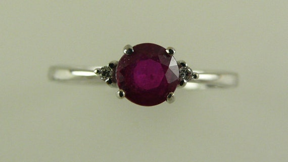 Ruby 0.75ct Ring with Diamonds 0.02ct 18k White Gold