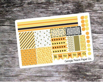 Bumble Bee/Honey Bee Themed Checklist Planner Stickers - Made to fit Horizontal Layout