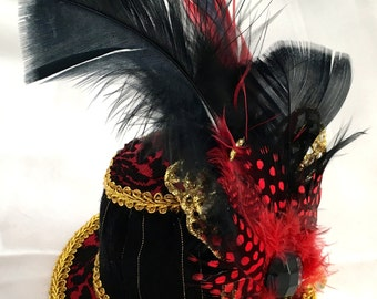 Butterfly Circus - Tiny Hat with Shimmery Gold & Red Adornments