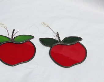 Stained Glass Apple Suncatcher - Teacher Gift - Apple - Stained Glass Suncatcher - Ornament