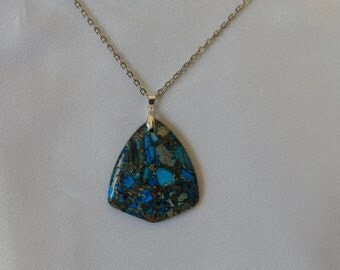One large blue sea sediment pendant with silver chain