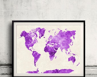 Purple world map etsy world map in purple watercolor instant download 8x10 inches poster wall art illustration print art decorative sciox Choice Image