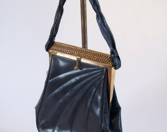 1940's Navy Leather handbag