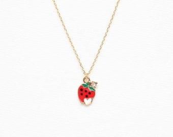 Strawberry Necklace, Fruits Necklace, Charm Necklace, Small Pendant Necklace, Red Necklace, Dainty Necklace, Gold Plated Necklace