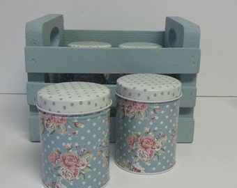 Shabby Chic Vintage Style Blue Floral ~ Tea Tins