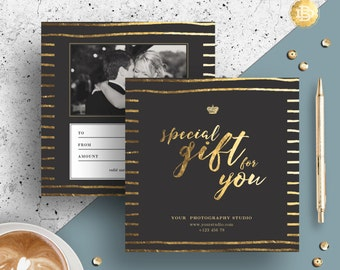 Photography Gift Certificate Template, Gift Card Design, Photo Marketing Template for Photographers, INSTANT DOWNLOAD - GC001