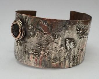 Reticulated Silver on Copper Cuff Bracelet