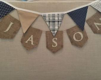 Navy Grey White and Tan Fabric Bunting Banner for Boy's Room, Nursery, Baby Shower or Birthday Party Decor