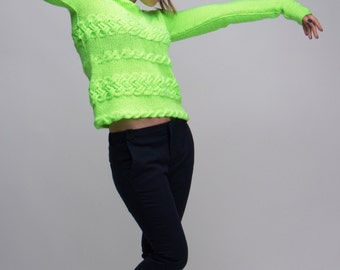 SALE M-size, Women's Knitted Sweater, Knitted Colorful Sweater, Women's Knit fashion, Hand Knitted Sweater, Hand Knitted Pullover