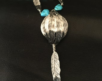 Turquoise and Feathers Hand painted Necklace