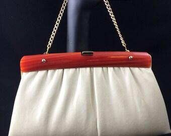 "Vintage cream/beige leather clutch/bag w/ red orange ""lucite style"" accent"