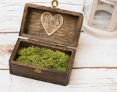 Wedding ring box Rustic RIng Holder Moss Ring Pillow Wedding Personalized Ring Bearer Moss Ring Box