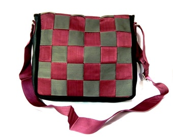 Reclaimed Inner Tube Safety Belt Flap Messenger Bag- Purple and Grey