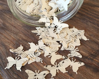 Vintage Sheet Music Butterfly Confetti
