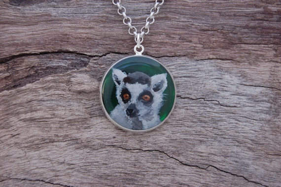 Hand Painted Ring-Tailed Lemur Pendant