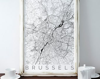 Map of Brussels - Map ART - Brussels Poster  - Office Decor - Brussels Travel Poster - City of Brussels - Travel Decor - Gift for Traveller