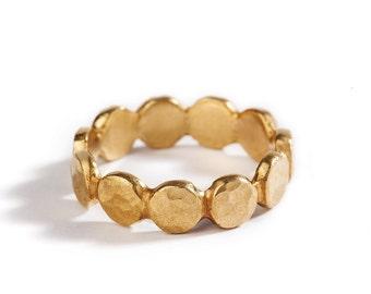 Hammered Circles Gold Wedding Ring For Women, 14K Yellow Gold Wedding Band, Womens Wedding Band, Textured, Matte Gold