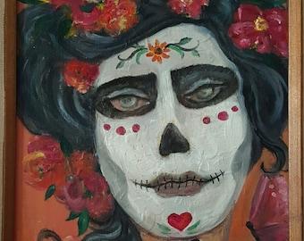 "Dia De los muertos Frida Day of the Dead original art  4.25 x 5.5"" notecard"