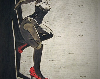 "Pin up charcoal drawing art print ""Damaging Affirmations"""