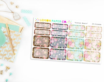 Half and Quarter Boxes // Vintage Beauty (Planner Stickers for Erin Condren Vertical and MAMBI The Happy Planner)