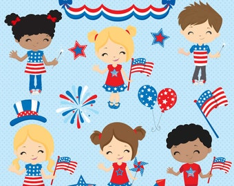 Patriotic clipart, Independence Day, July 4th clipart, Patriotic kids clipart, American kids clipart, Commercial License Included