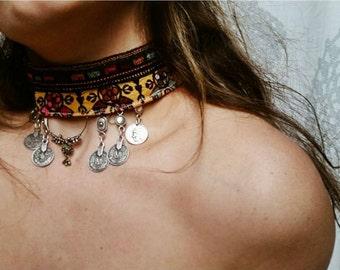 Handmade vintage boho banjara kuchi coin ethnic tribal choker hippie necklace