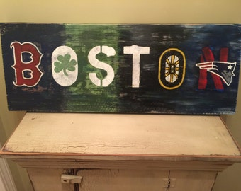 Boston Sports Logos Sign