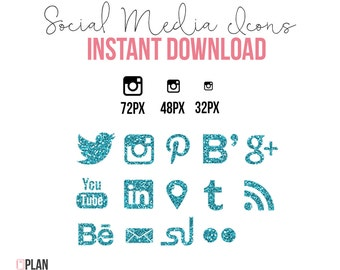 Social Media Icons Shape INSTANT DOWNLOAD Glitter Turquoise