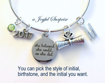 Graduation Gift for Her, Charm Bracelet High School College Grad 2017 Silver Bangle Jewelry She believed she could so she did 2016 2018