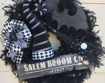 Halloween Witch Wreath, Witch wreath, Witch hat wreath, Feather wreath, Bat wreath, broomstick wreath, witch, Salem Broom Co