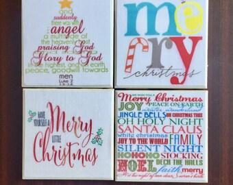 Colorful Christmas Coasters- Set of 4