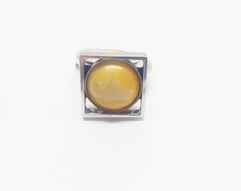 Handmade Silver Baltic Amber Ring
