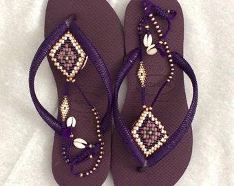 Sandals, Flip Flops, Hippie Shoes, Summer Shoes, Flat Shoes, Strappy Sandals, Women Sandals, Purple Sandals, Anklet Sandals, Beaded Shoes