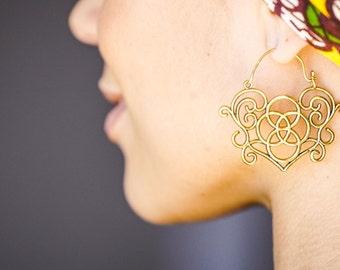 Tribal Earrings, Gypsy Earrings, Brass Earrings, Ethnic Earrings, Indian Earrings, Gold Earrings, Large Gold Earrings, Ornate Earrings