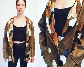 Vtg 80s Panther Suede Oversized Jacket Patchwork Leather Coat
