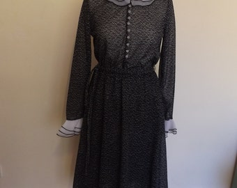 shubette vintage 70s dress black and white dotty smart secertary mad men 10 12